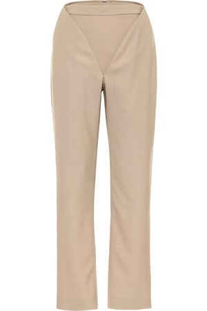 Y / PROJECT Cutout high-rise straight wool pants