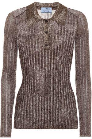 Prada Metallic ribbed-knit top