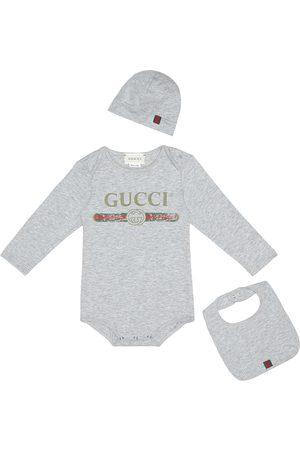Gucci Cotton bodysuit, bib and hat set