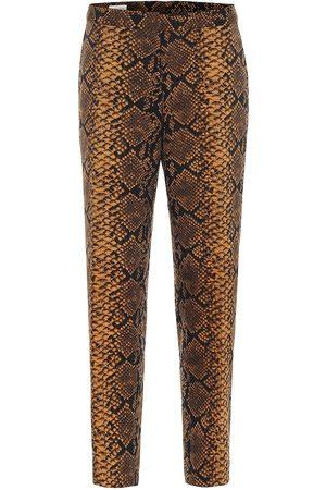 DRIES VAN NOTEN Snake-print high-rise wool pants