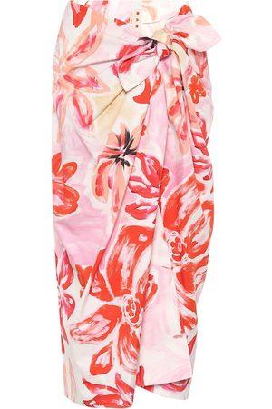 Marni Floral cotton-blend midi wrap skirt