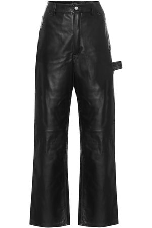 UNRAVEL High-rise wide-leg leather jeans