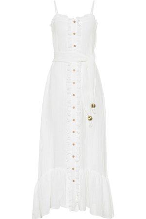 Lisa Marie Fernandez Linen-blend gauze maxi slip dress