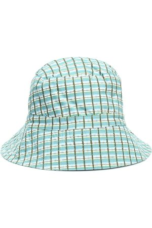 Caramel Wembley checked cotton bucket hat