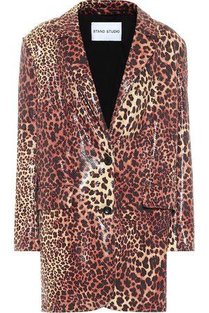 Stand Studio Juniper leopard-print faux leather blazer