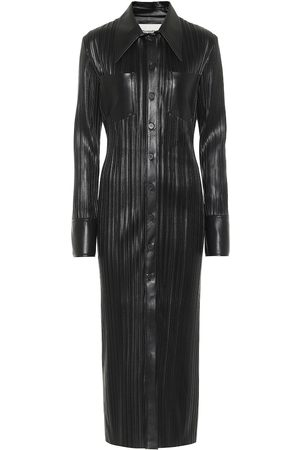 Nanushka Lee pleated faux leather shirt dress