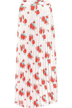 Vetements Floral plissé twill midi skirt