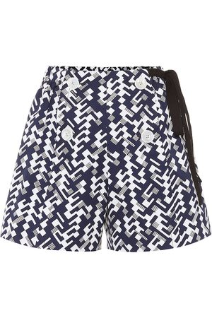 Prada Printed high-rise cotton shorts
