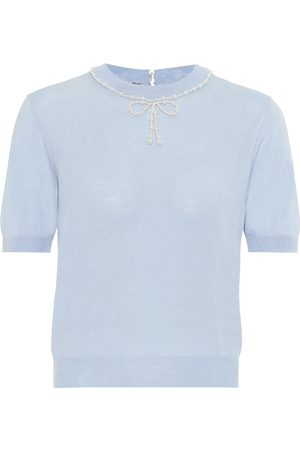 Miu Miu Embellished silk and cashmere top