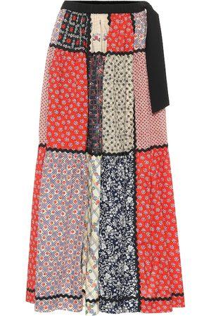 Miu Miu Patchworked floral cotton midi skirt