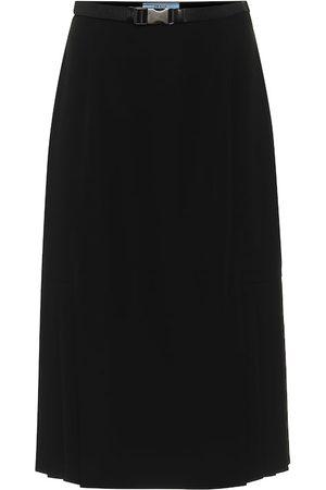 Prada Belted nylon midi skirt