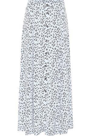 Ganni Printed high-rise crêpe midi skirt