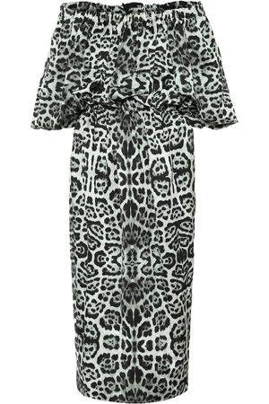 DRIES VAN NOTEN Leopard-print off-shoulder midi dress