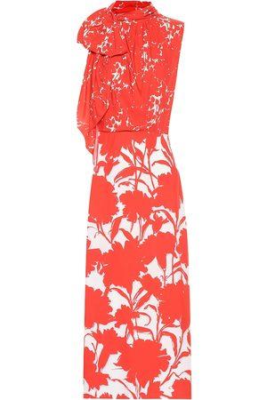 Prada Floral-printed twill midi dress