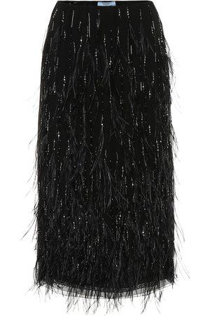 Prada Feather-embellished midi skirt