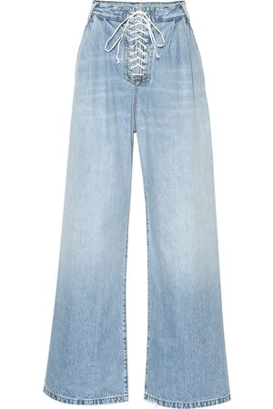 UNRAVEL Lace-up high-rise wide-leg jeans