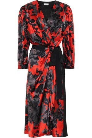 DRIES VAN NOTEN Floral silk-satin wrap dress