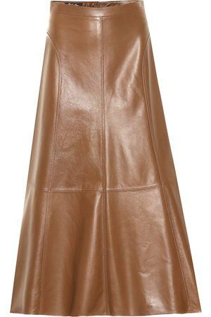 Loro Piana Jeane leather midi skirt