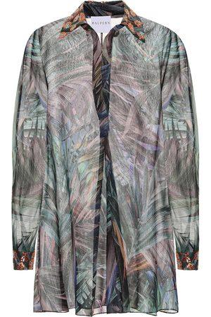 HALPERN Printed georgette lamé shirt dress