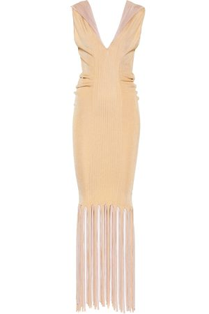Bottega Veneta Fringed ribbed-knit midi dress