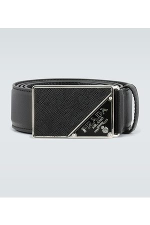 Prada Saffiano leather enamel-buckle belt