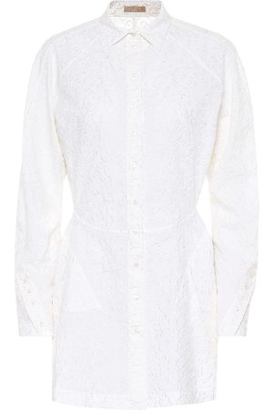 Alaïa Embroidered wool-mousseline shirt