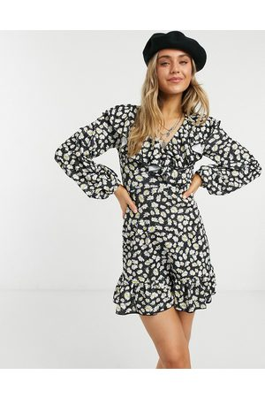 ASOS Mini wrap dress with frill neck and pep hem in black base daisy print