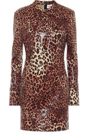 Stand Studio Juno leopard-print faux leather minidress