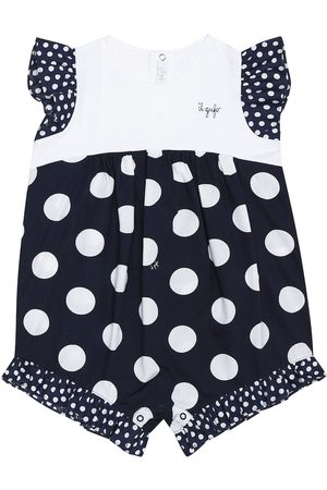 Il gufo Baby polka-dot cotton playsuit