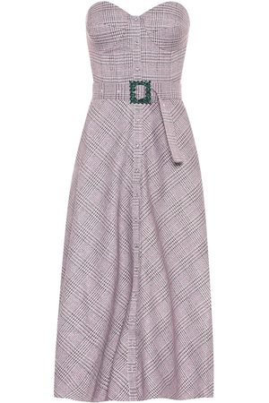 ROTATE Peggy checked bustier midi dress