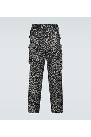 SACAI Leopard Shrivel cargo wool pants