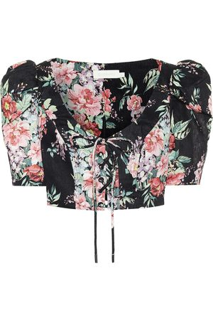 ZIMMERMANN Bellitude floral linen crop top