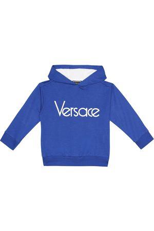 VERSACE Logo stretch-cotton hoodie