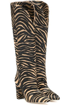 PARIS TEXAS Zebra-print suede knee-high boots