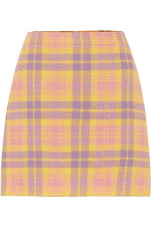Miu Miu Checked wool-blend miniskirt