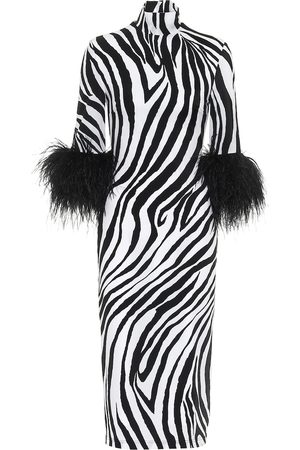 HALPERN Feather-trimmed zebra-print midi dress