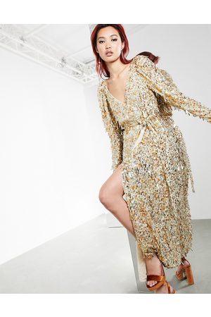 ASOS Disc and teardrop sequin wrap midi dress in gold
