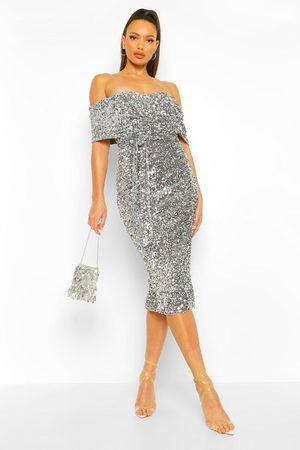 Boohoo Tall Sequin Bardot Belted Midi Dress