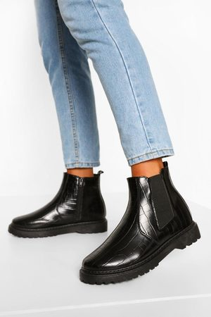 Boohoo Wide Fit Croc Chunky Chelsea Boots