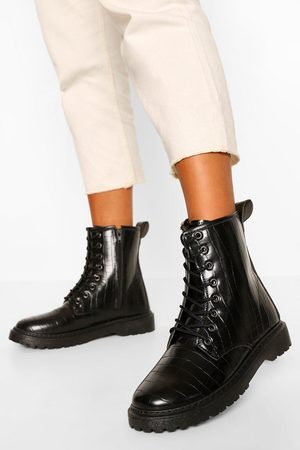 Boohoo Wide Fit Croc Lace Up Chunky Hiker Boots