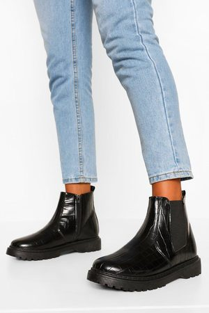 Boohoo Croc Chunky Chelsea Boots