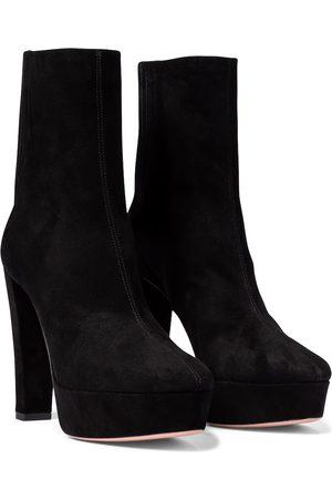 Aquazzura Dame Skoletter - Saint Honore 120 suede platform ankle boots