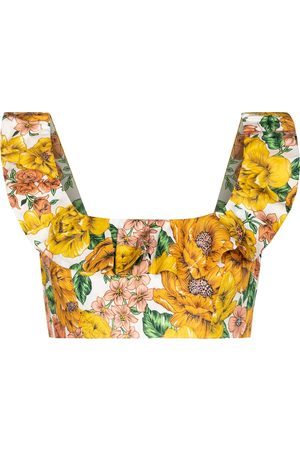ZIMMERMANN Poppy floral linen crop top