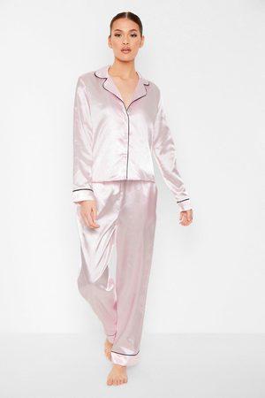 Boohoo Contrast Piping Button Down Satin Pyjama Set