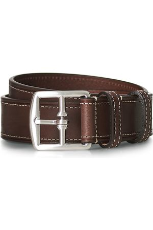 Anderson's Bridle Stiched 3,5 cm Leather Belt Brown