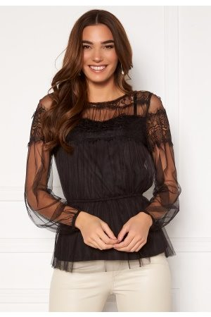Happy Holly Smilla ls mesh blouse Black 40/42