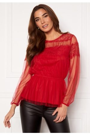 Happy Holly Smilla ls mesh blouse Red 36/38