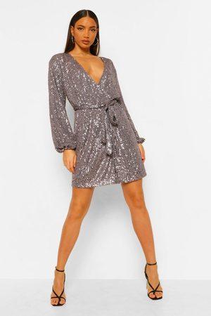 Boohoo Dame Festkjoler - Tall Belted Sequin Blazer Dress