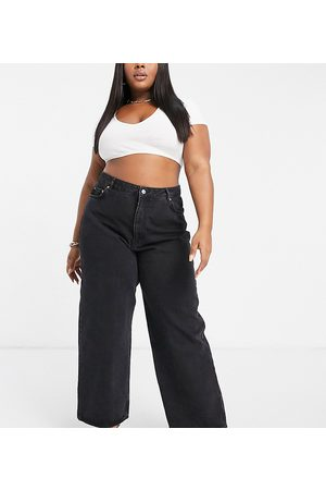 ASOS ASOS DESIGN Curve high rise 'relaxed' dad jeans in washed black