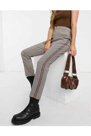 BB Dame Leggings - Check trousers with side stripe in brown